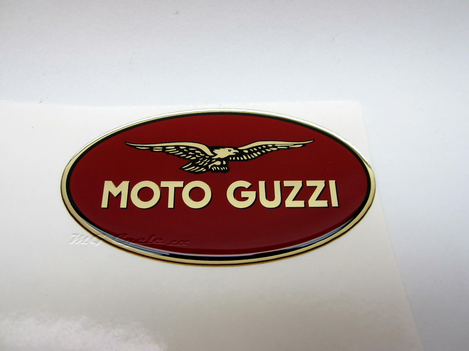 03482070 right side hepco becker moto guzzi emblem badge 83 x 45mm oval mg cycle. Black Bedroom Furniture Sets. Home Design Ideas