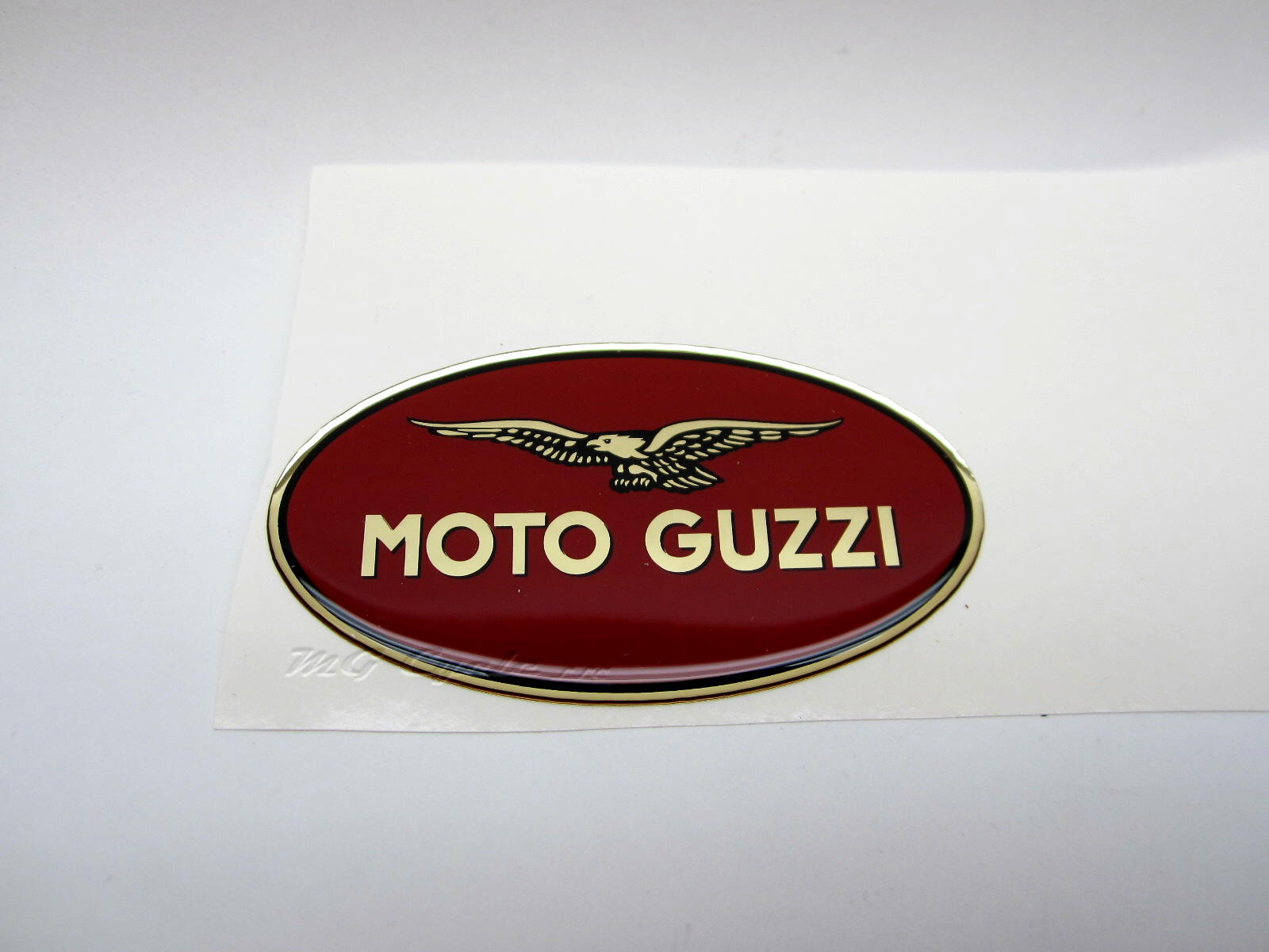 "left side Hepco Becker ""Moto Guzzi"" emblem 83 x 45mm oval"