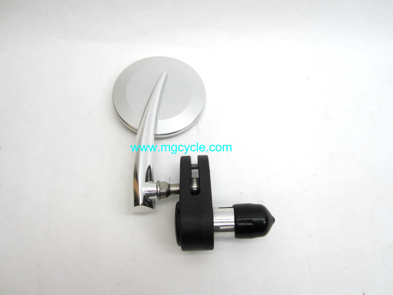 "polished right 3"" bar end mirror, convex lens for 7/8"" bars"