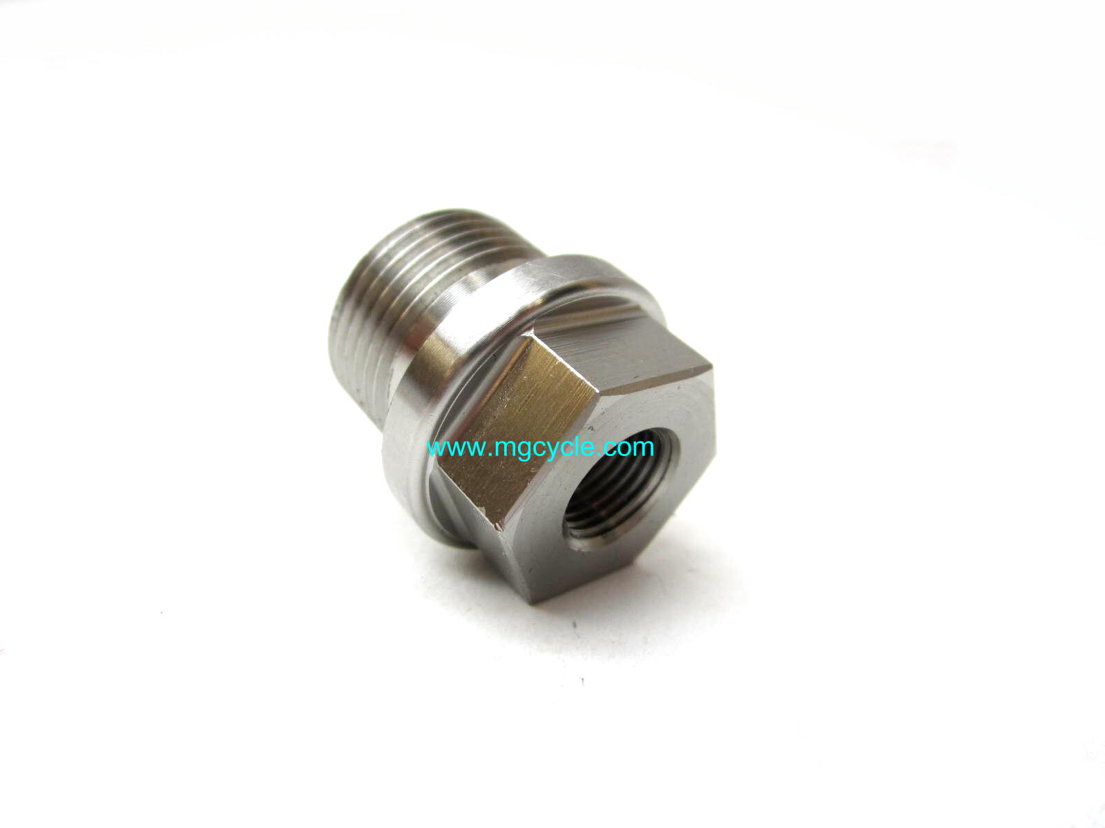 Oil drain plug, stainless steel, hex head, with hole