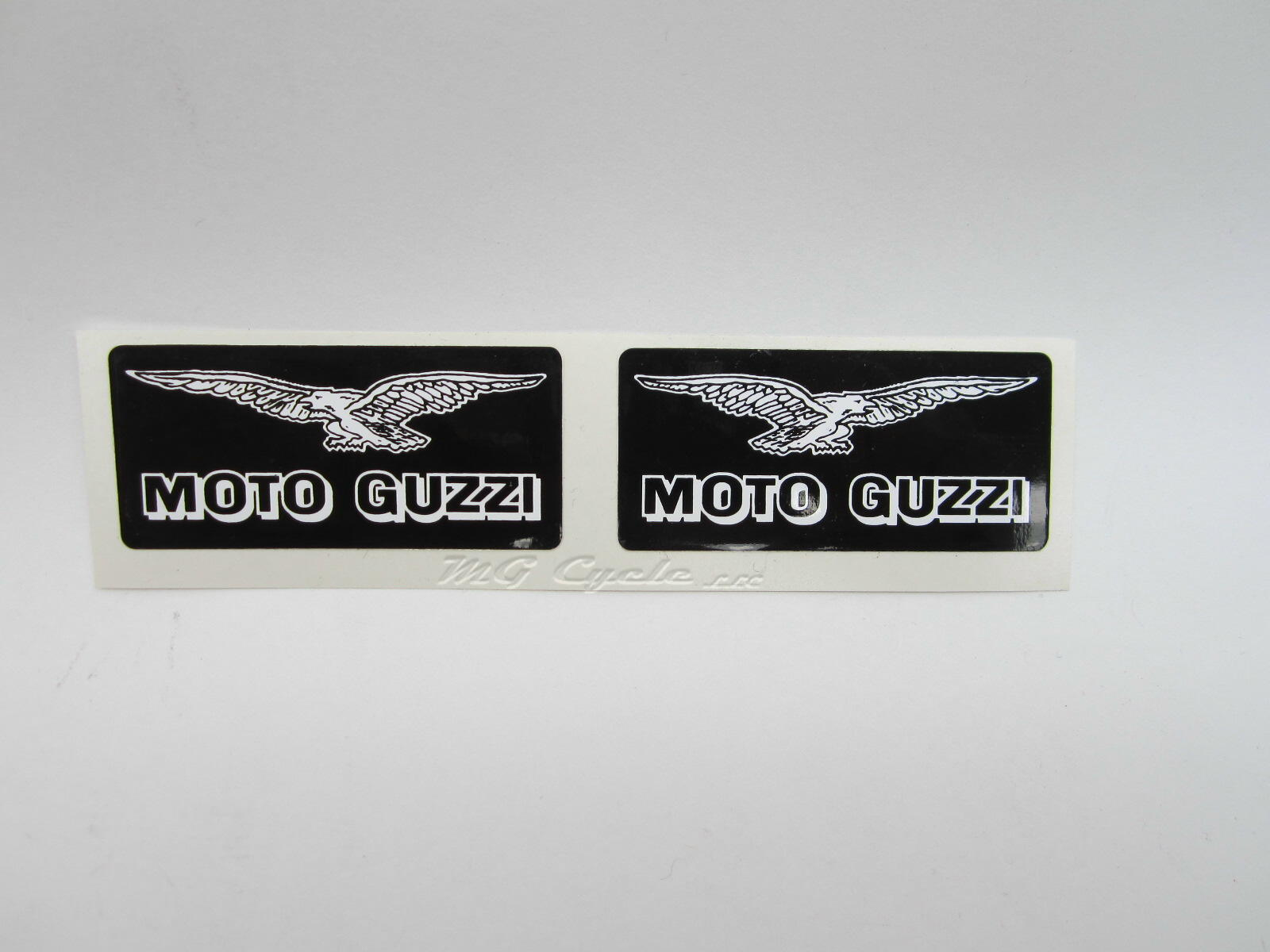 decal set, black and white, Moto Guzzi with eagle, pair