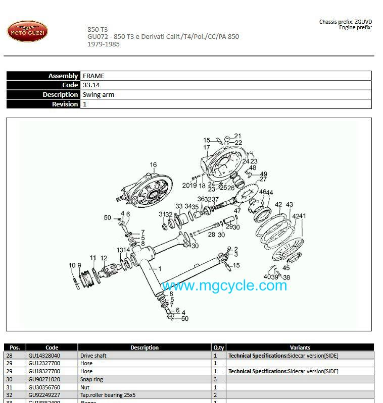 drive shaft, 10/20 tooth, 159mm, sidecar version