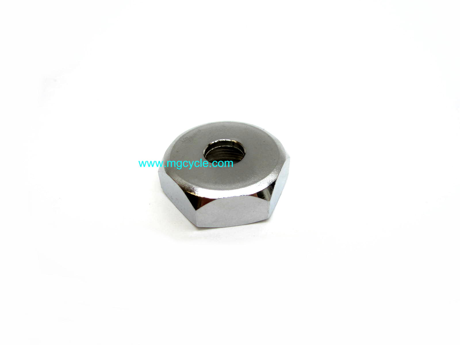 cap nut, swingarm pivot, most Tonti frame models, chrome