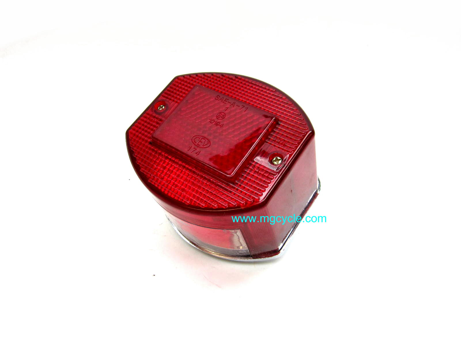 CEV 9350 tail light unit, semi-round, flat sides, chrome base