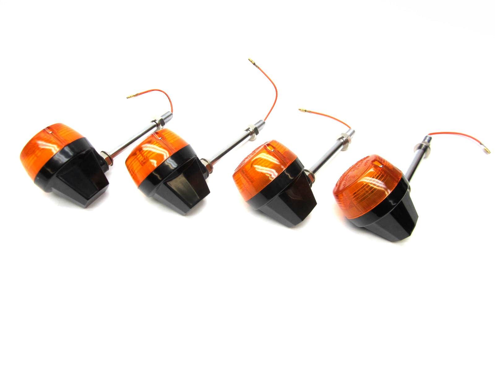 Set of 4 CEV replica black turn signals with stems