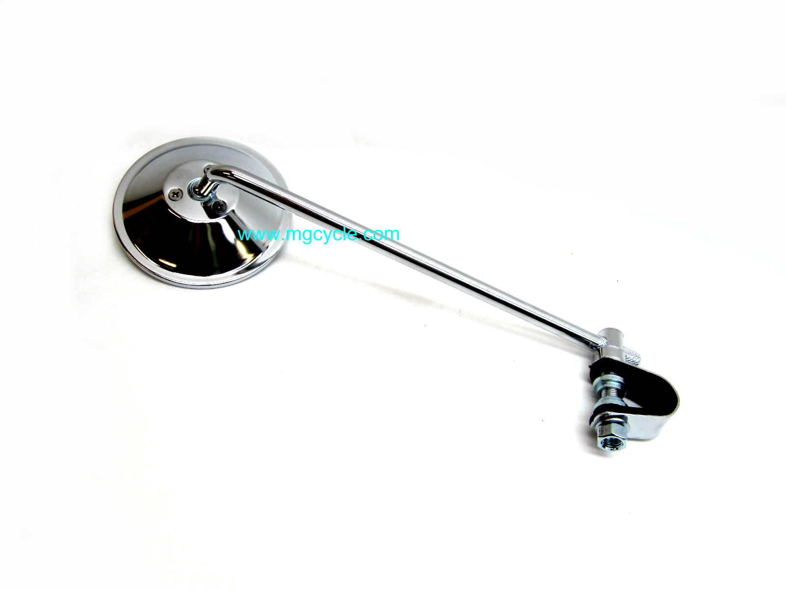 Mirror, round, clamp on, 10 inch stem, chrome