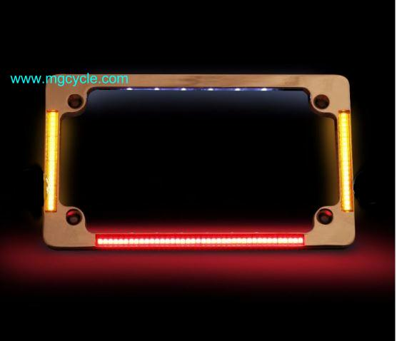 License plate frame with LED tail lights and turn signals