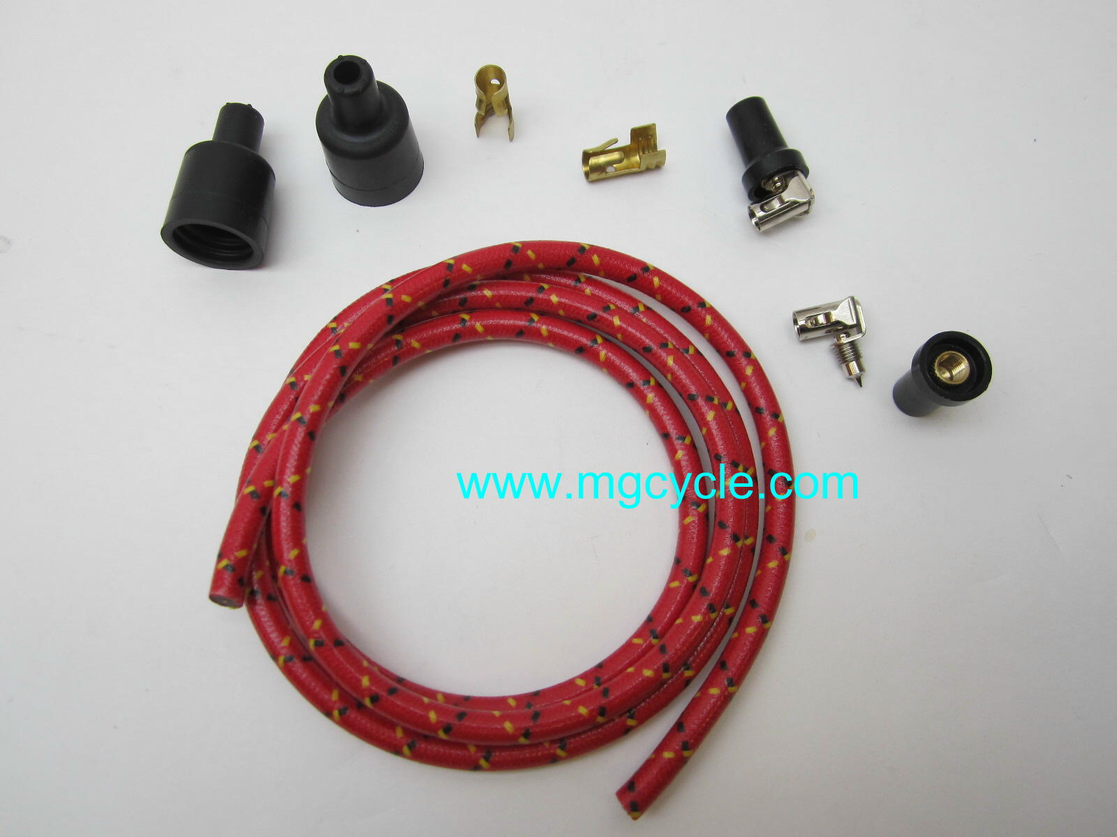cloth covered spark plug wire set, red with black tracer