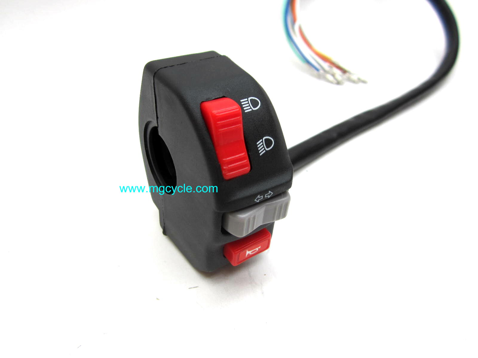 left handlebar switch, headlight high/low, horn, turn signal