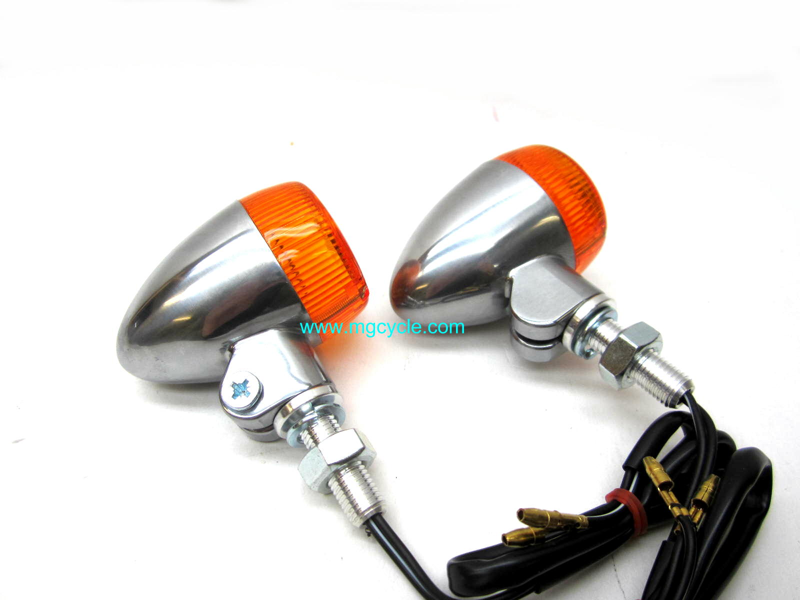round aluminum marker light set, non-DOT turn signals, pair