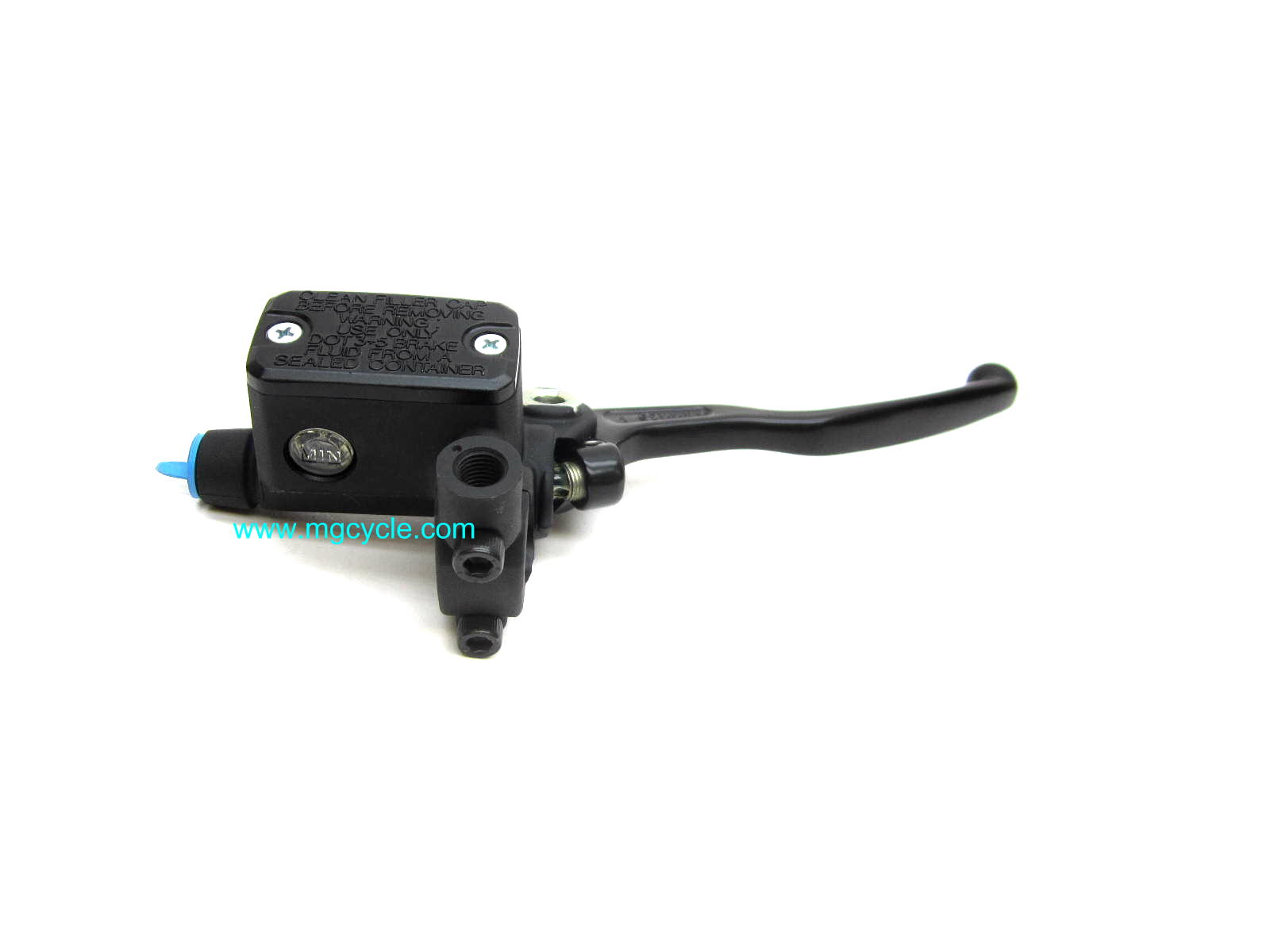 Brembo 12mm master cylinder with switch, black lever, rect.