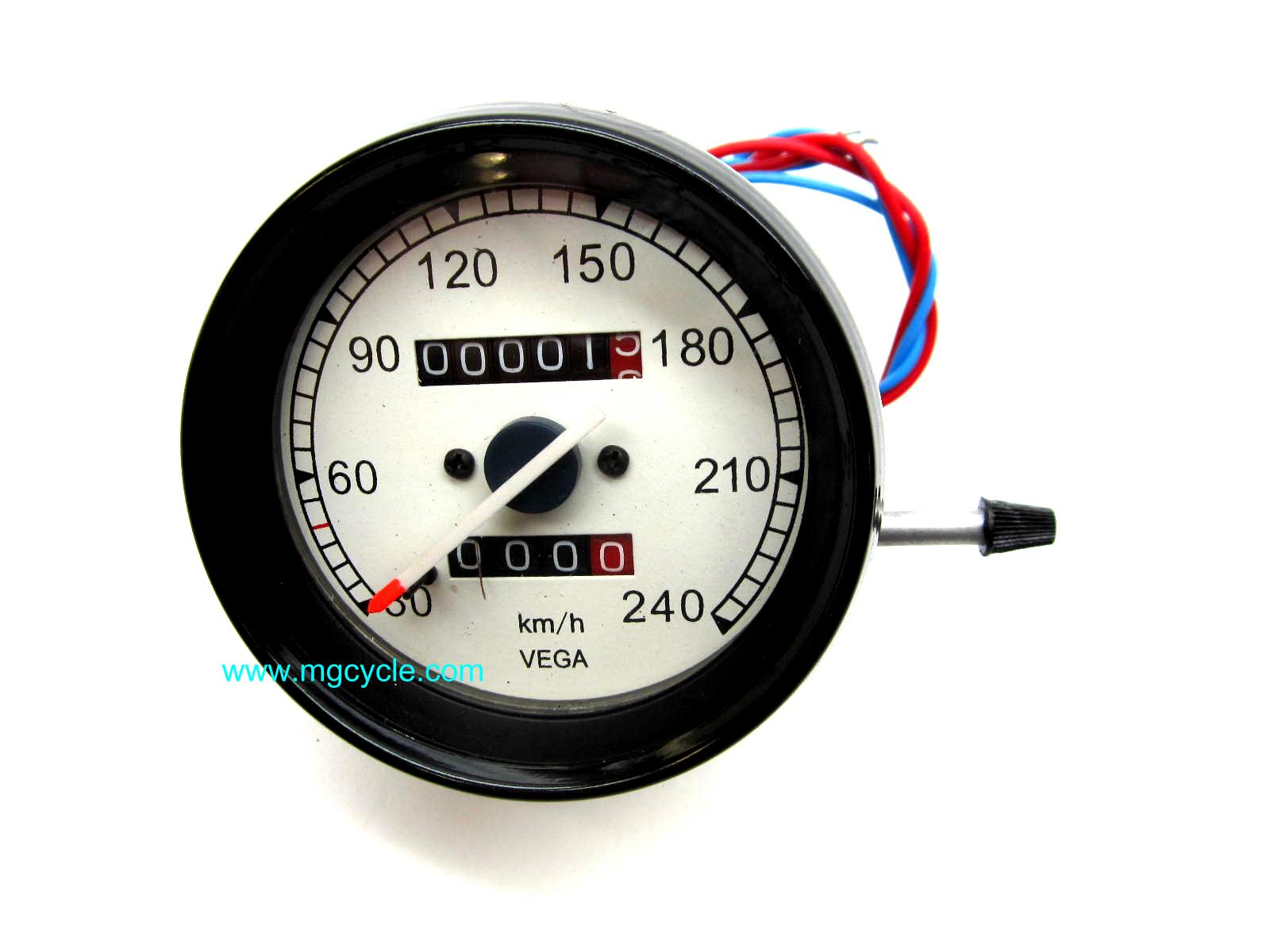 VEGA speedometer, 80mm, lighted, KPH, odometer, trip meter