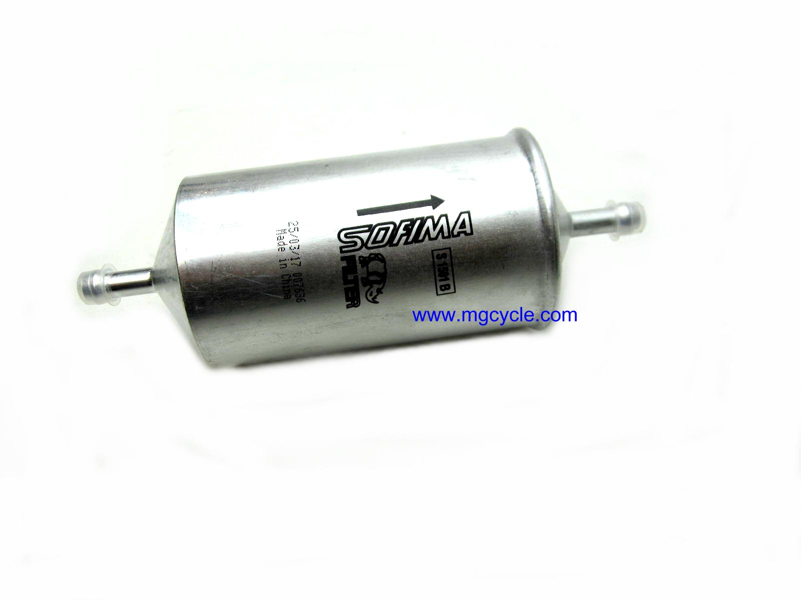 fuel filter, hose barb both ends, '00 V11Sport 1100Spt 2nd serie
