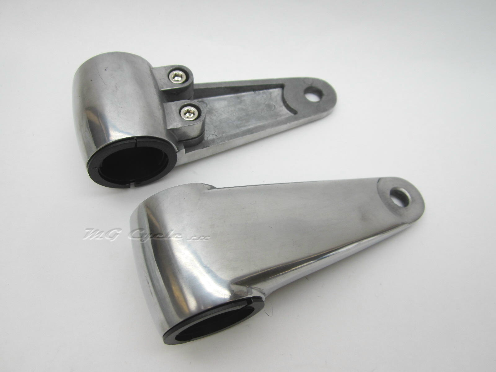 polished aluminum headlight mounting ears, 35mm fork