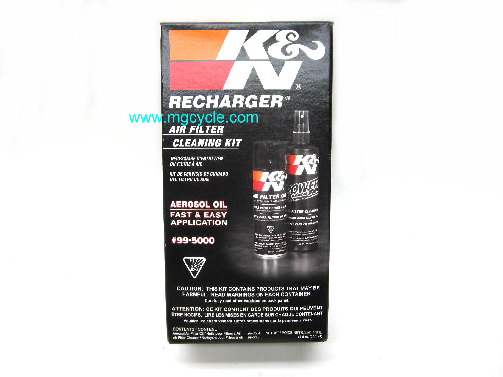 K&N Filter Care Kit, air filter cleaning and oiling solutions