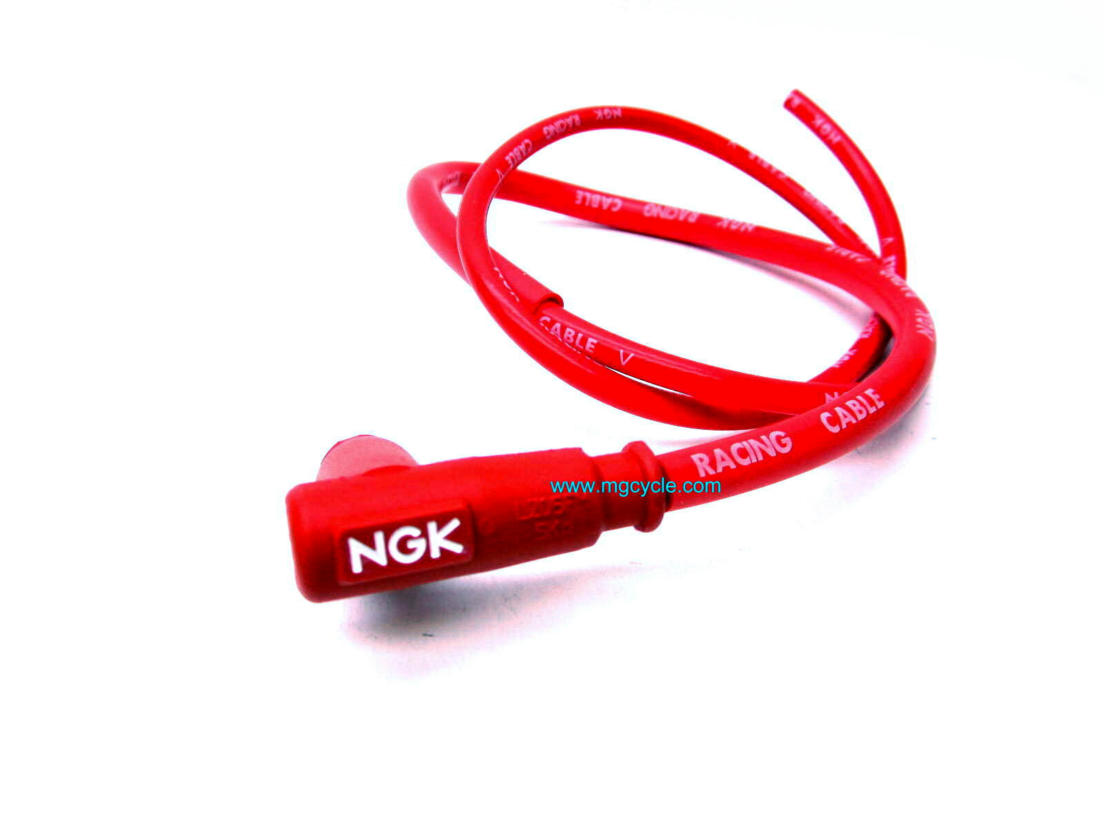 Red NGK plug wire (100cm) 90 degree 5k ohm resistor cap