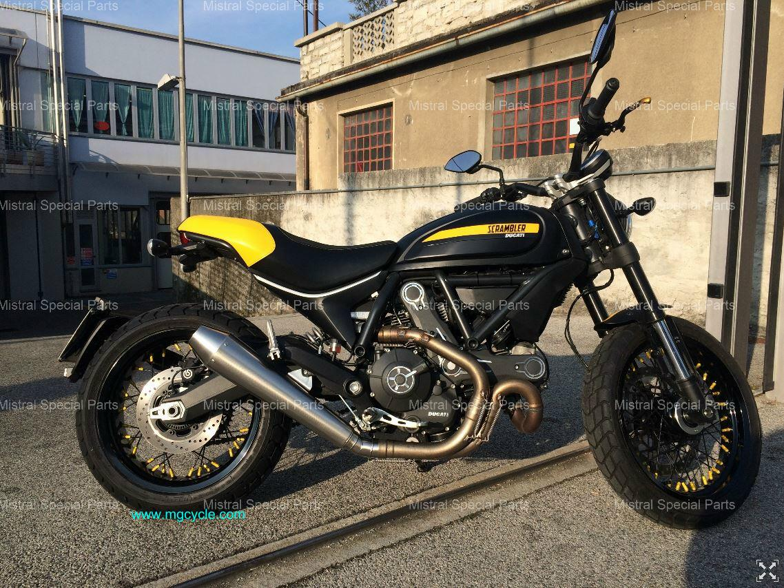 Mistral stainless conical satin Ducati Scrambler 800