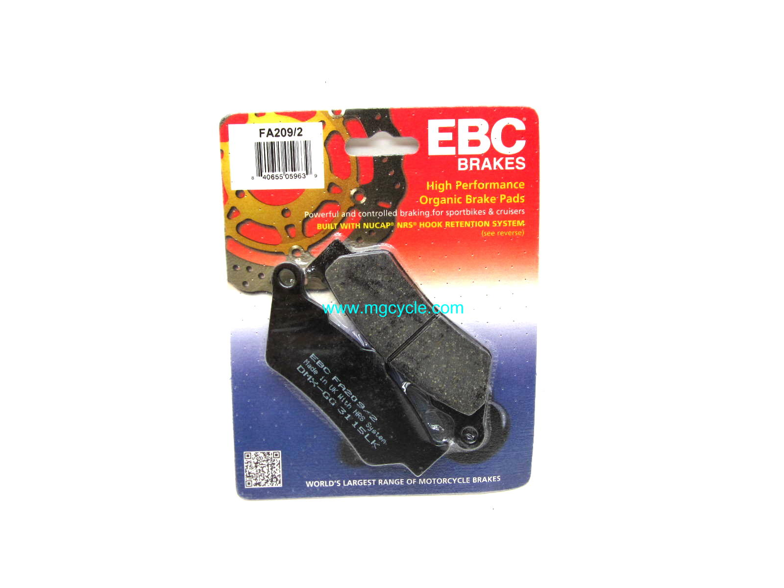 EBC kevlar organic pads rear V11 Californias '98 on, Quota front