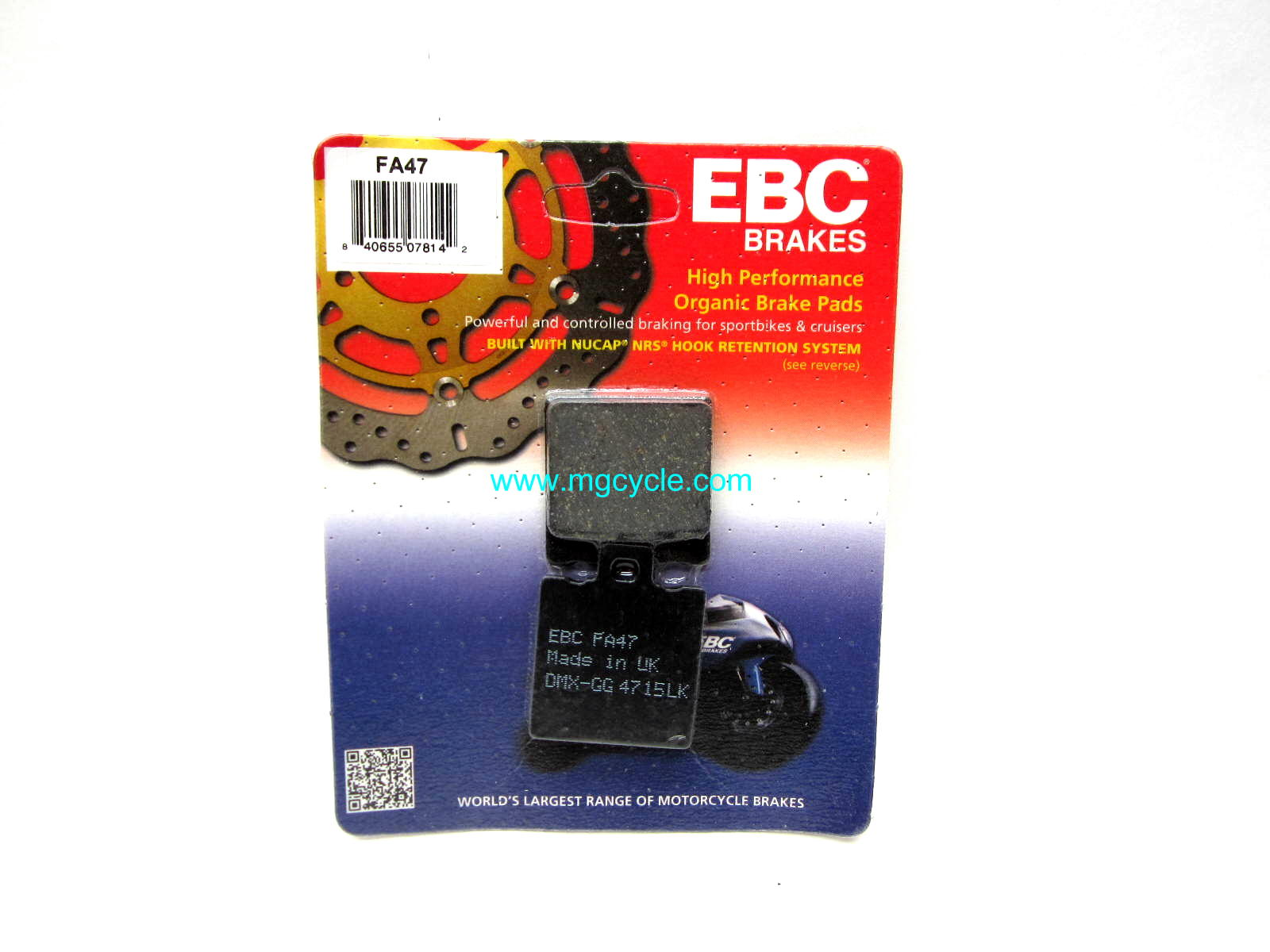 EBC kevlar organic brake pads, F05 small twins, V11 Sport rear