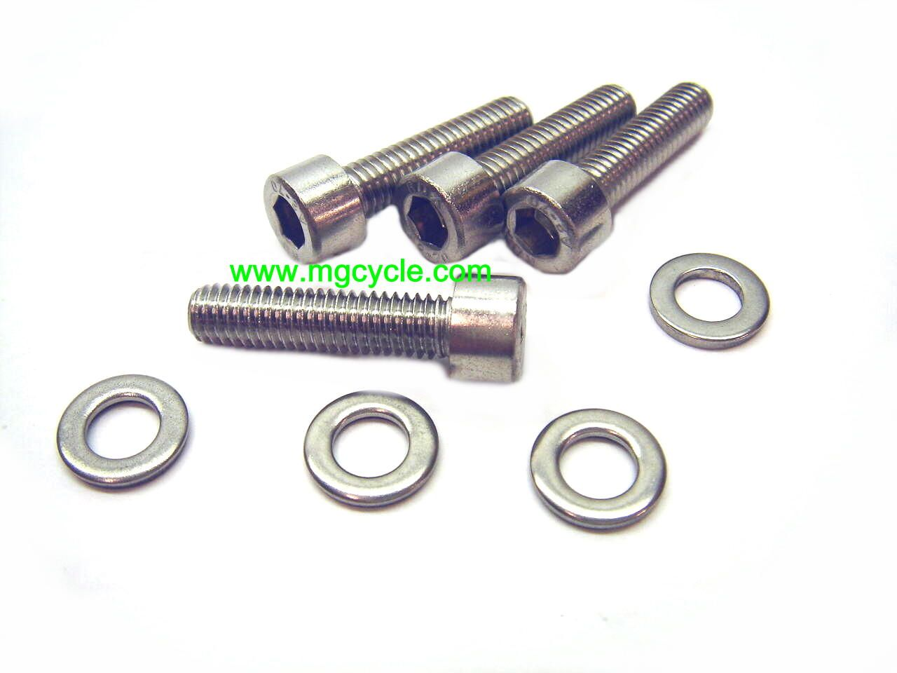 Stainless fastener kit for alternator covers without spacer