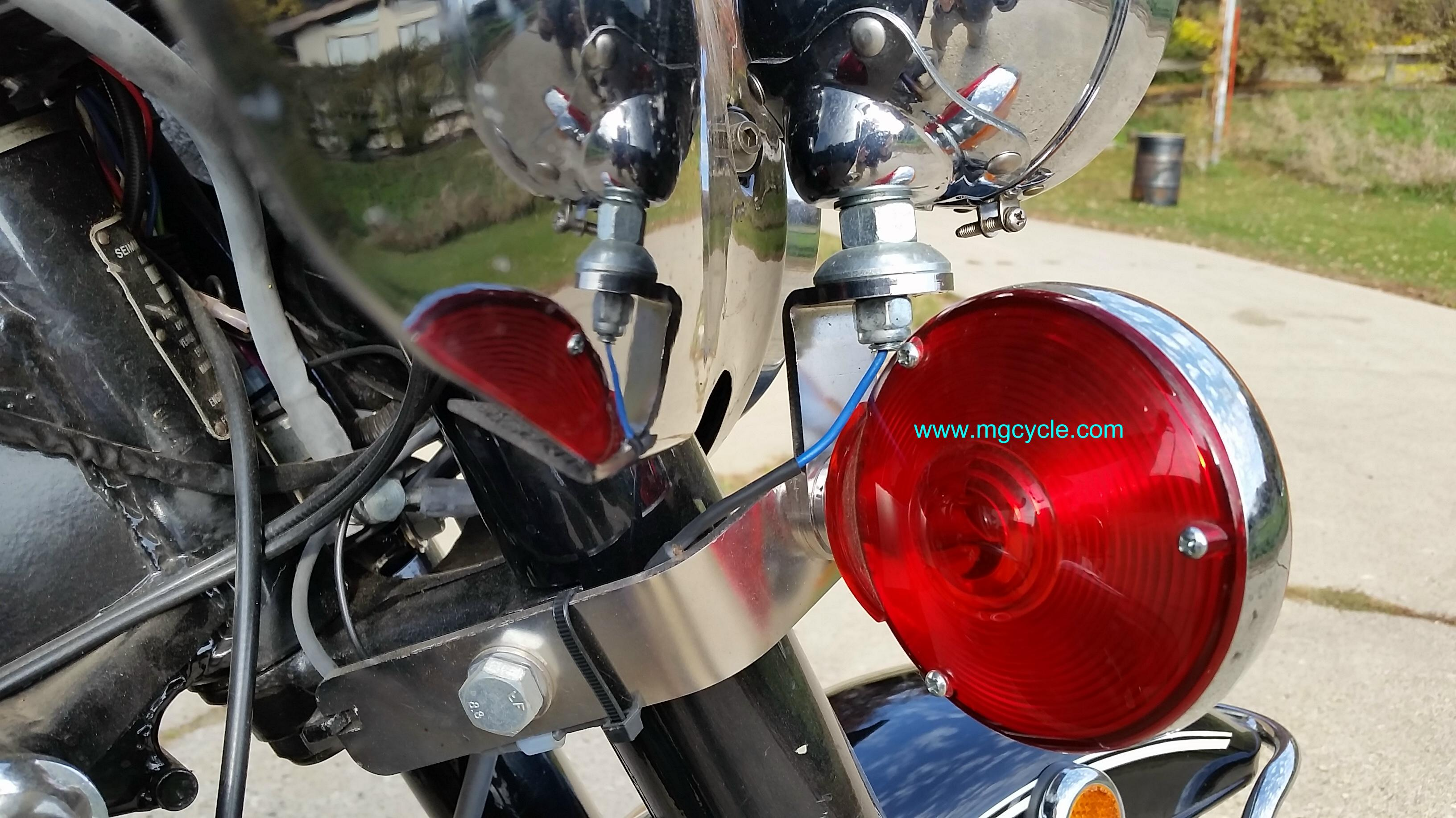 Auxiliary light supports Amb-Eld, polished stainless steel, pair