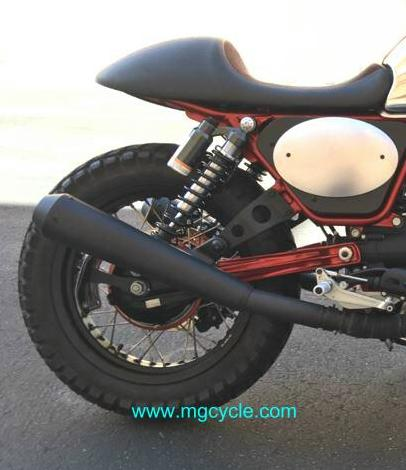 Mistral black conical muffler set for V7 Racer, V7 Cafe