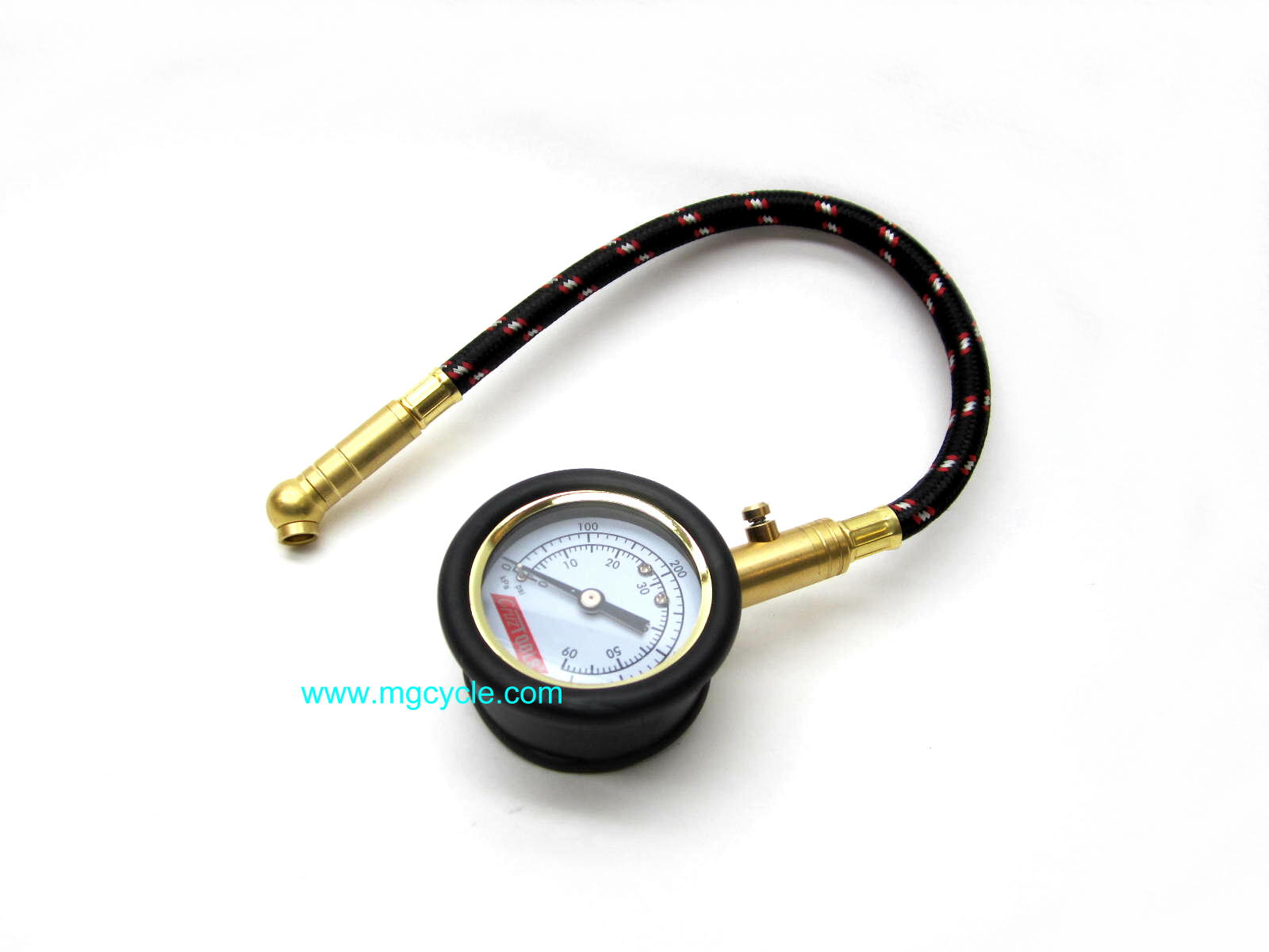 Dial type tire pressure gauge with rubber cover, 0-60 psi