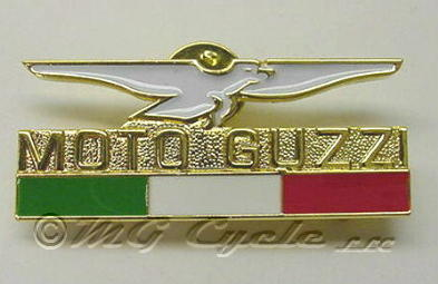Lapel pin, white enameled eagle over tri-color flag with name