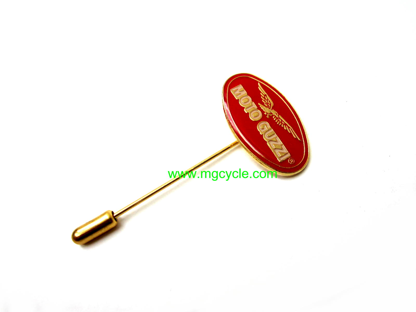 Guzzi oval stick pin, lapel pin, red and white