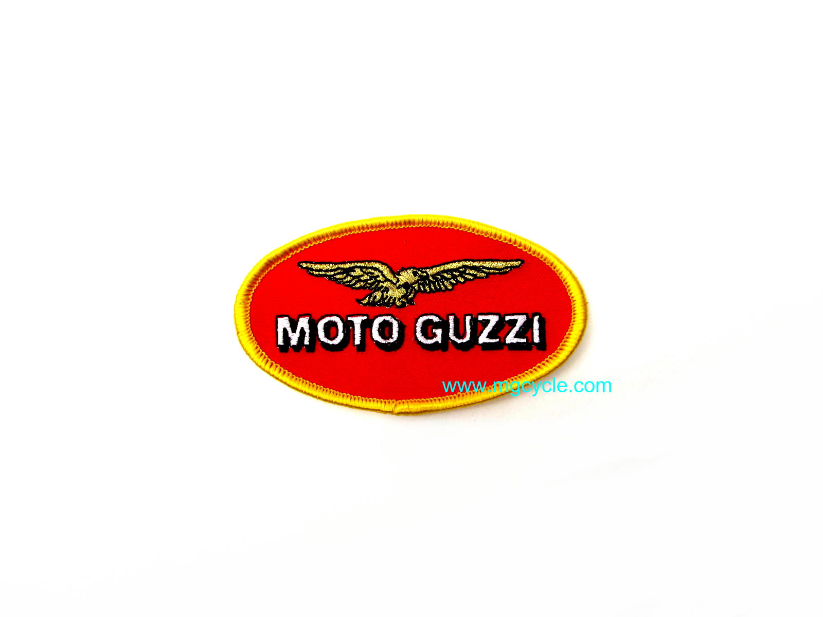 Small oval patch, Moto Guzzi red oval gold trim