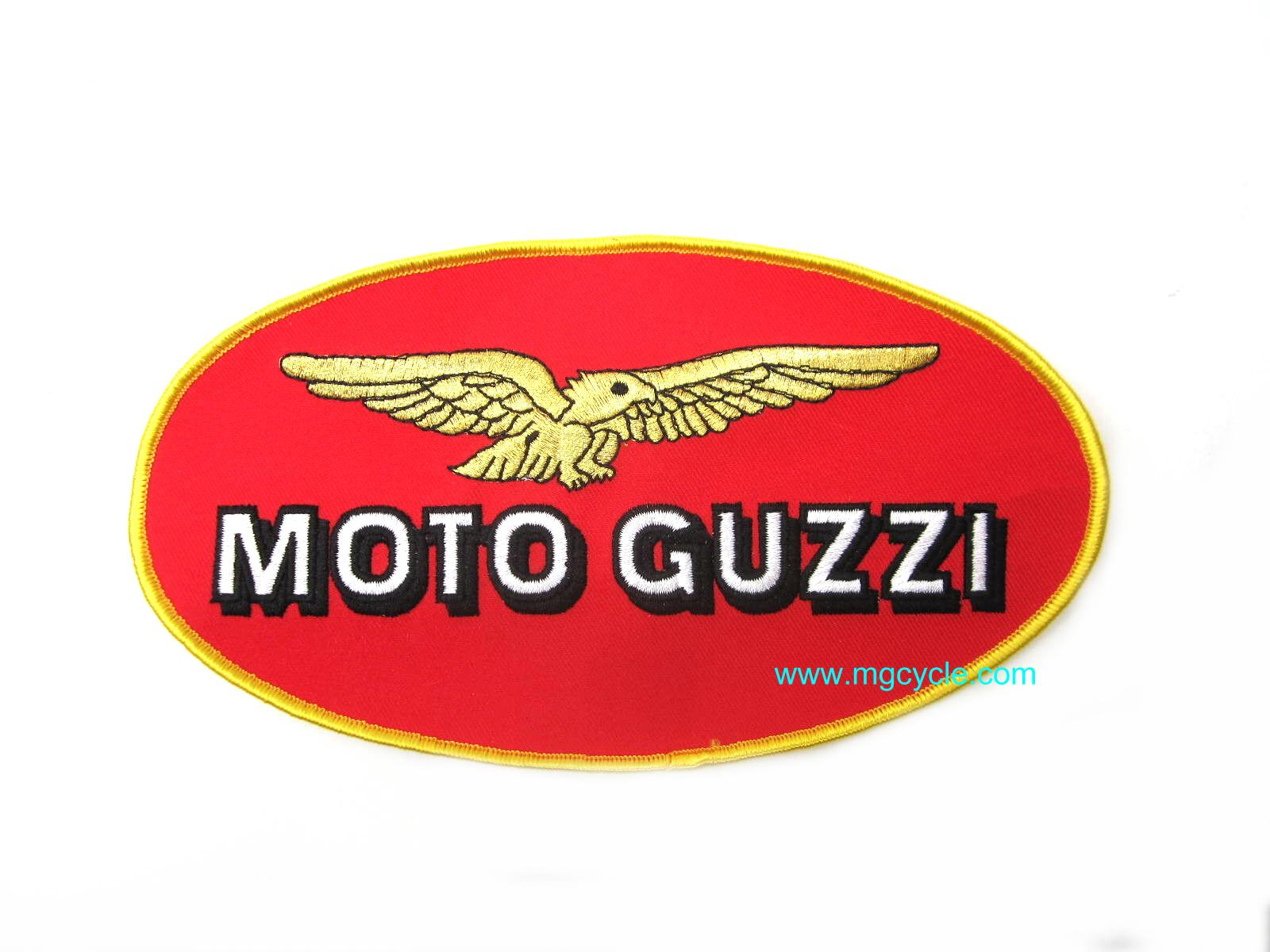large oval patch, Moto Guzzi, oval red and gold, 4x8