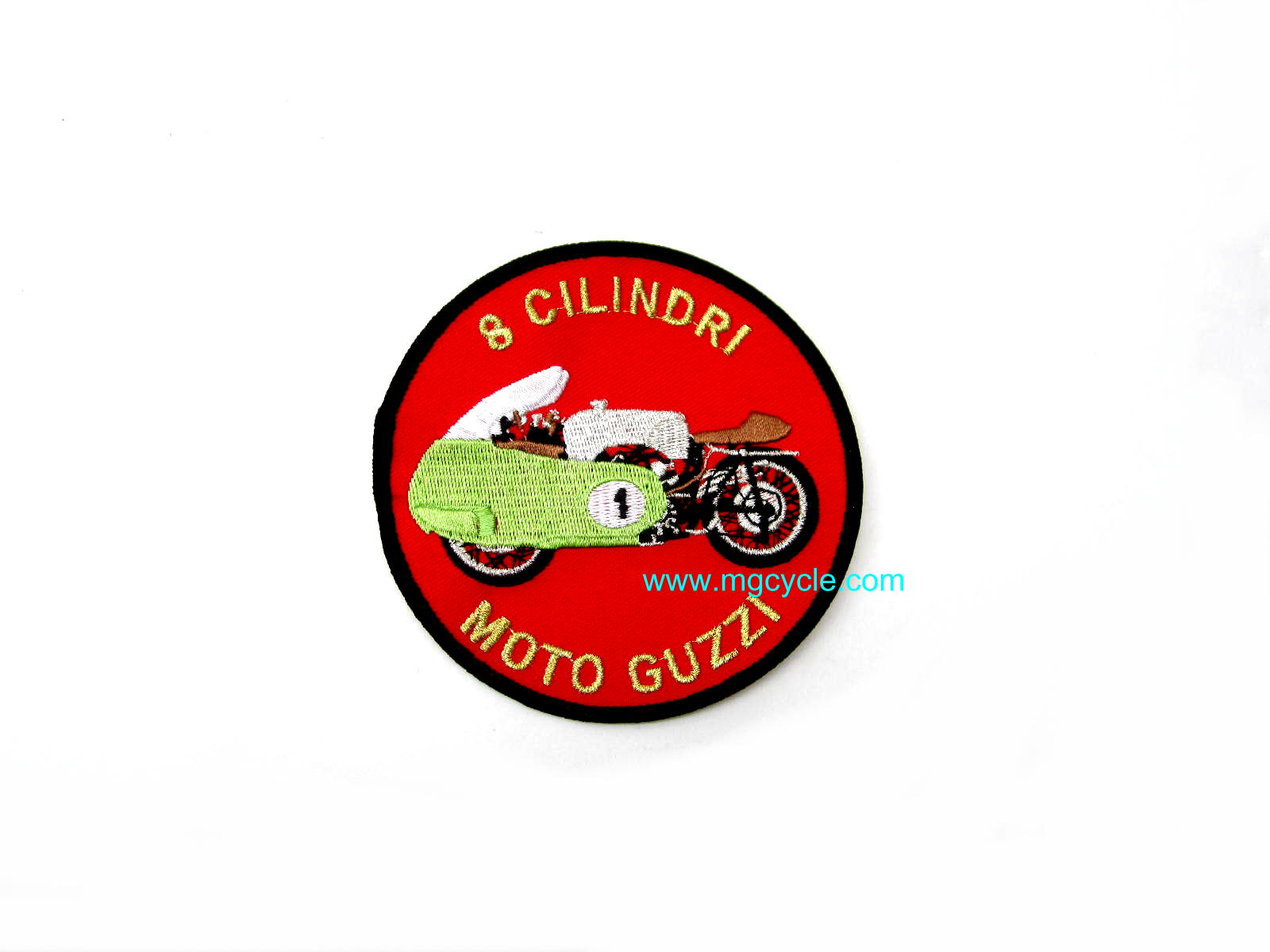 Moto Guzzi V8 patch, embroidered, 4 inch diameter