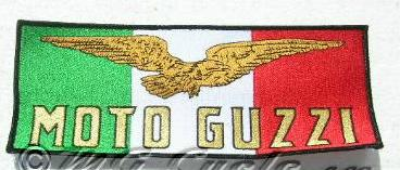 Big old style pre-war Guzzi eagle patch, tricolor, 10 inch width