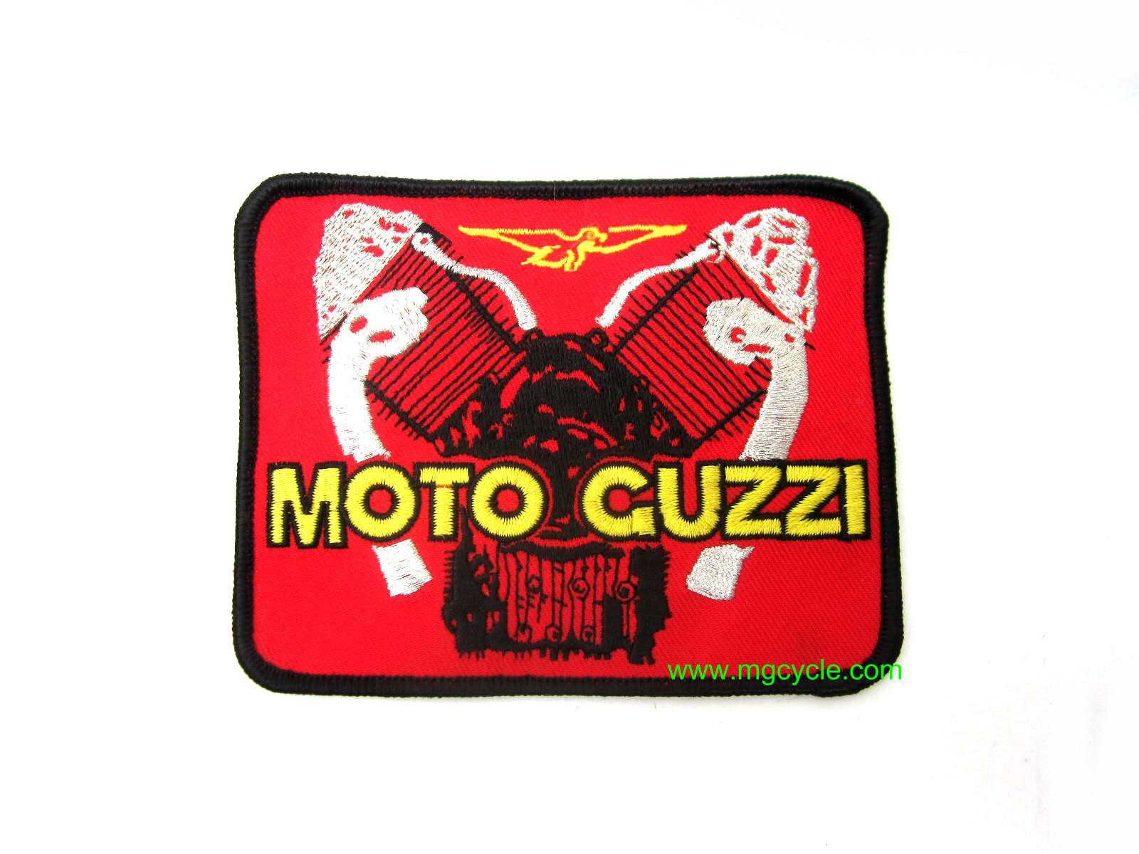 red Guzzi engine patch, rectangle 3.5 x 4.5 inches