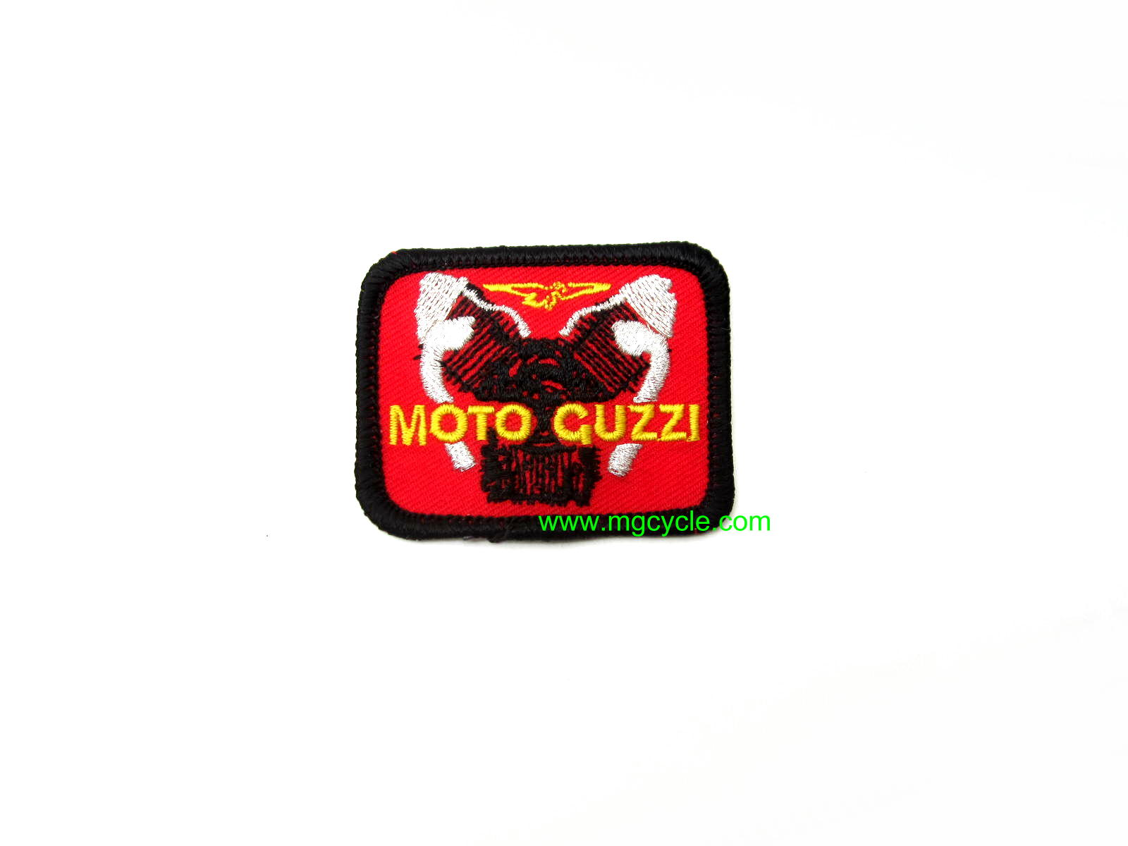 embroidered Guzzi engine patch, black on red, small rectangle