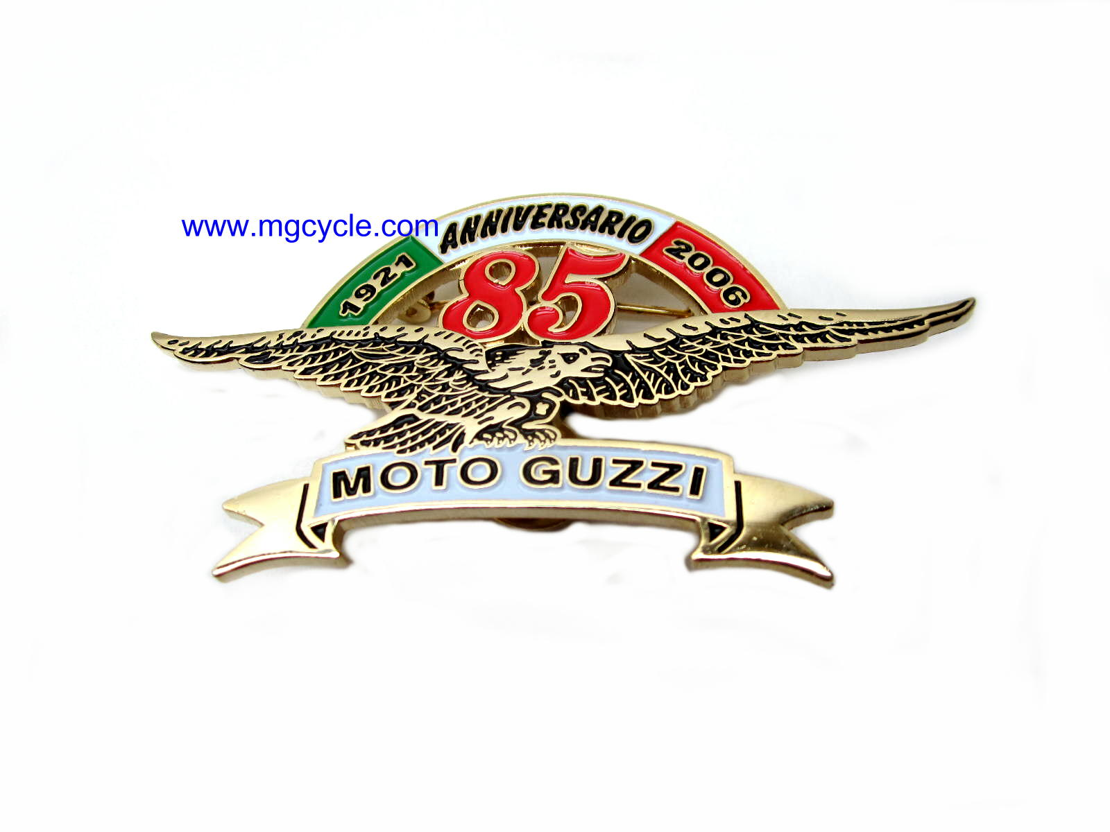 Moto Guzzi 85th Anniversary commemorative pin, 1921 - 2006