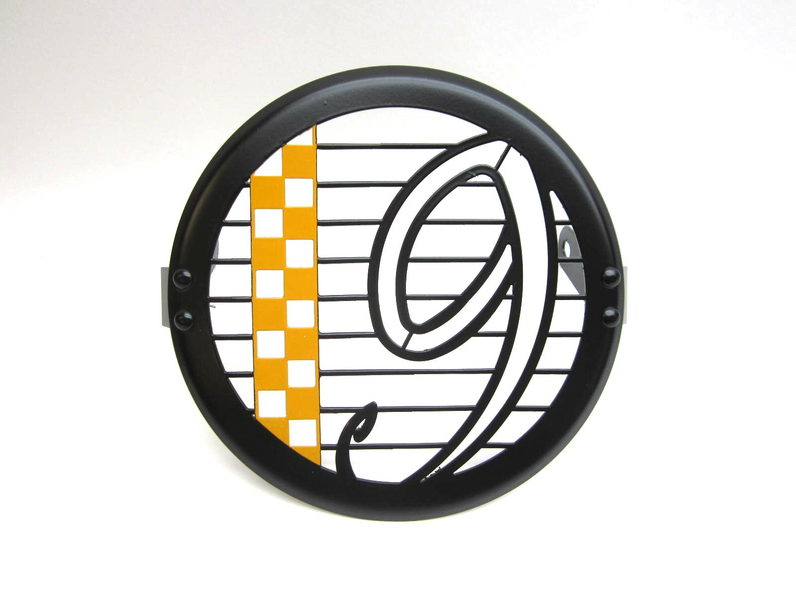 headlight guard V9 black and orange Bobber e Roamer checkerboard