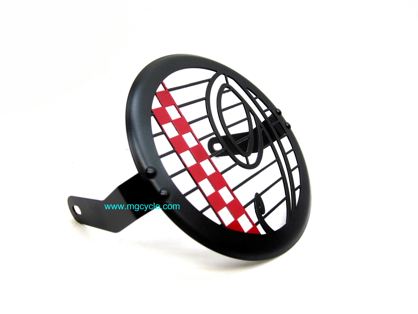 headlight guard V9 Bobber in black and red checkerboard match