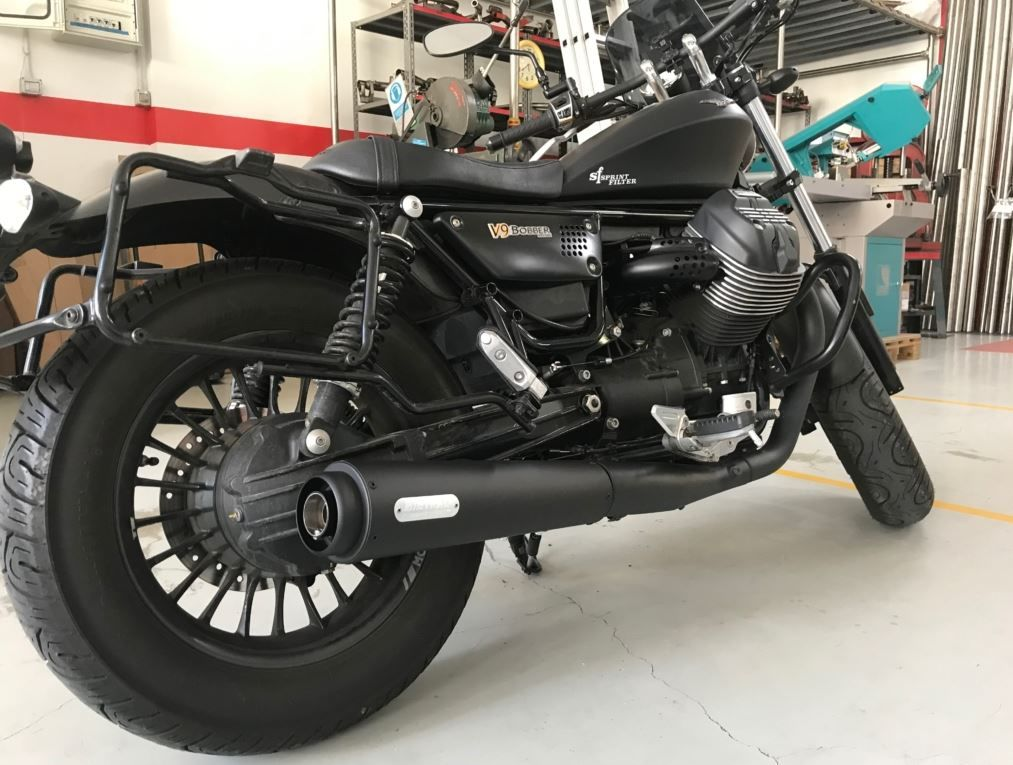 Mistral V9 Bobber and V9 Roamer black conical slip-on mufflers