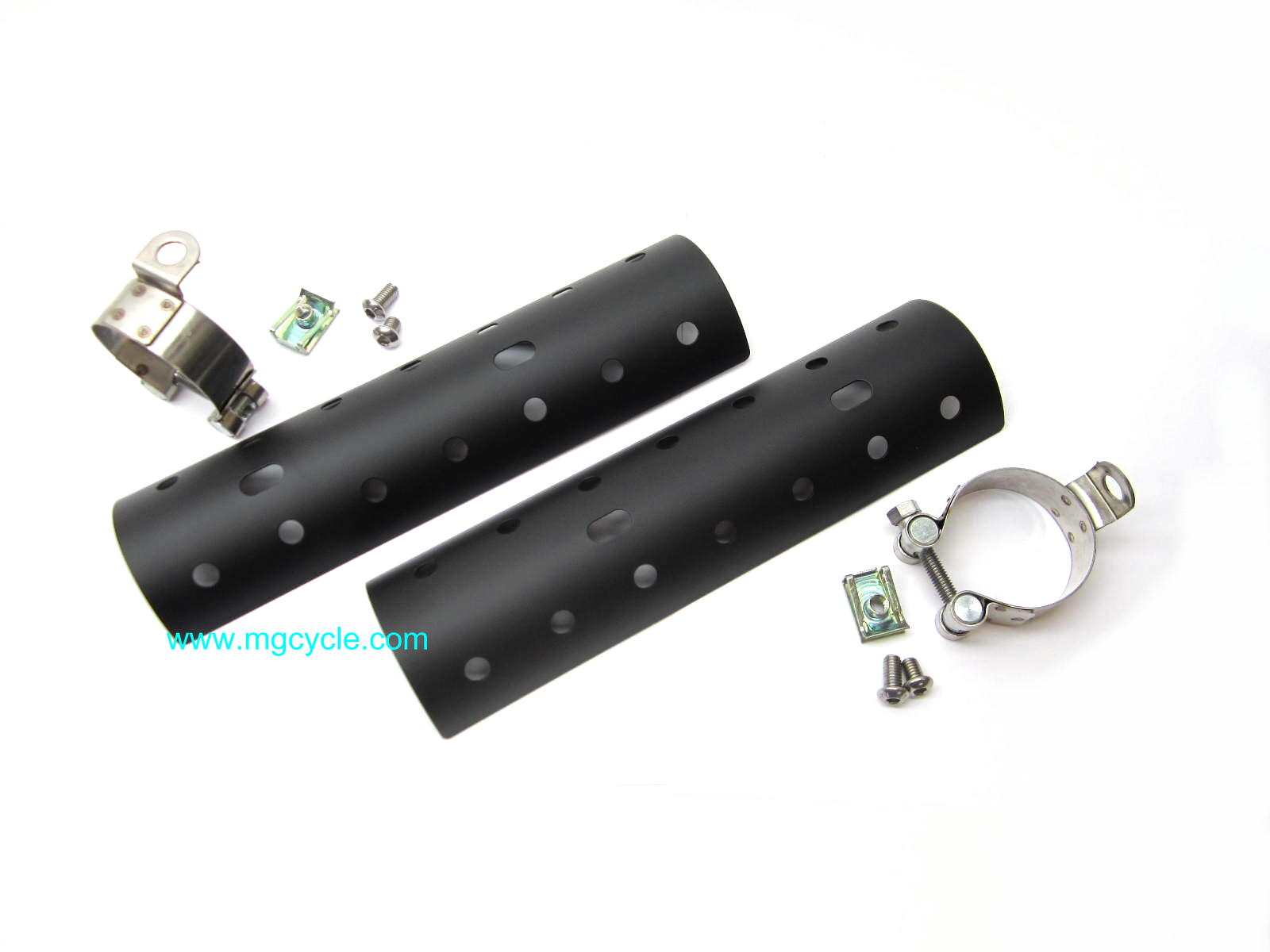 Black Mistral heat shield for V9 short mufflers - Click Image to Close