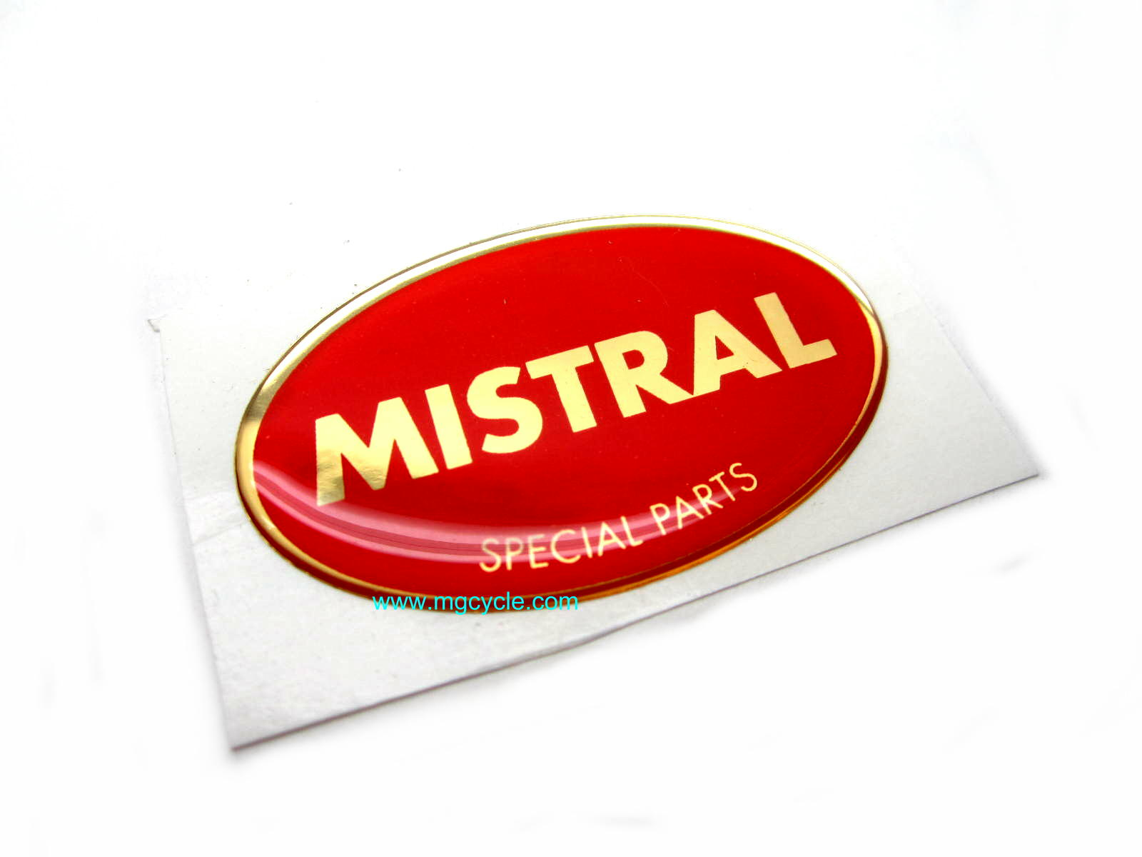 Mistral sticker, metallic vinyl 55mm x 35mm