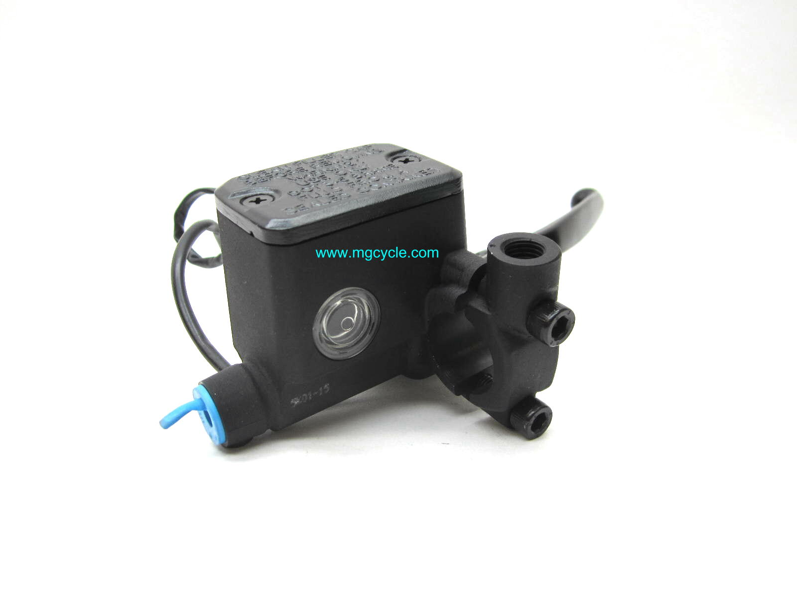 Brembo 15mm master cylinder, black lever, with switch & wires