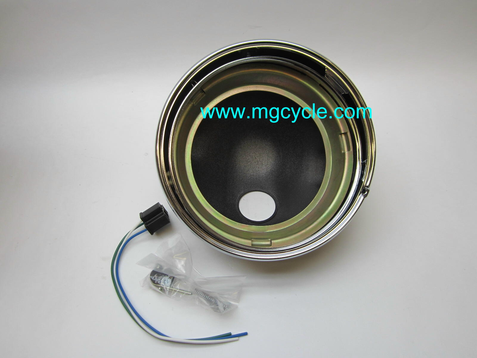 "7"" headlight bucket kit, black back with chrome trim ring"